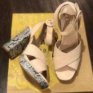 Faux suede platform sandal